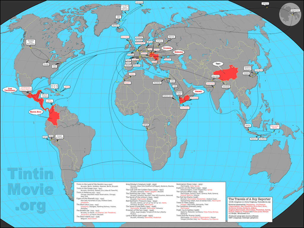 Tintin Geographies: Global Map | eternalexploration